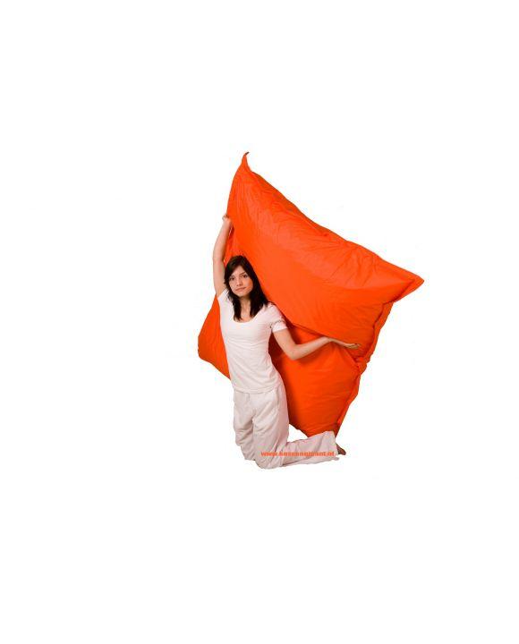 Zitzak 165 cm x 140 cm oranje met binnenkussen