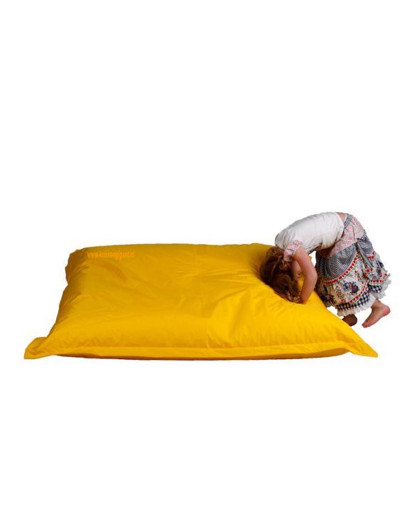 Zitzak 165 cm x 140 cm geel met binnenkussen